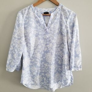 Talbot Petite soft blue and white blouse
